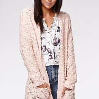 Kendall & Kylie Pointelle Stitch Cardigan - Womens Sweater