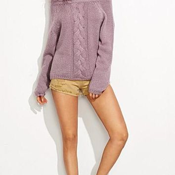 Casual Pullover Sweaters Ladies Autumn Purple Cable Knit