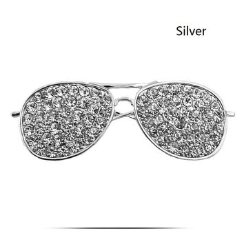 Clear Rhinestone Reading Glasses Frame Pin Brooch - Free Shipping