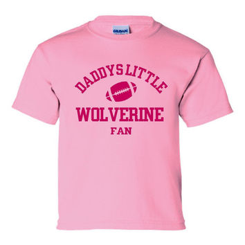 DADDYS LITTLE MICHIGAN Fan Wolverine Fan Girls Pink Printed Tee Football Tee Great Shirt For Your Wolverine Fan Kids Toddler Creepers