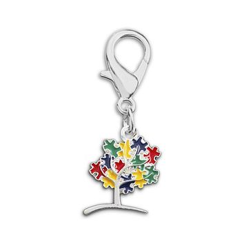 Autism Awareness Tree Puzzle Piece Hanging Charm