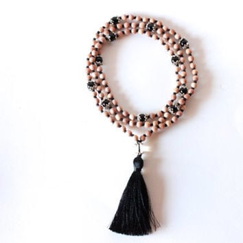 Root Chakra Mala - 108 Hand-Knotted Rosewood Beads with Obsidian, Clear Quartz, and Silk Tassel