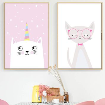Cartoon Unicorn Cat Wall Art Canvas Painting Nordic Posters And Prints Canvas Art Animal Wall Pictures Kids Room Girl Room Decor
