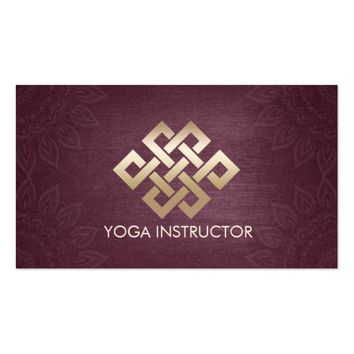 Purple Gold Eternity Knot Mandala Yoga Instructor Business Card