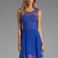 BCBGMAXAZRIA Sheer Combo Dress in Royal Blue from REVOLVEclothing.com