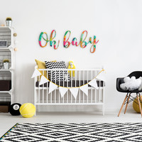 Oh Baby Rainbow Geometric Pattern Printed Custom Wood Sign
