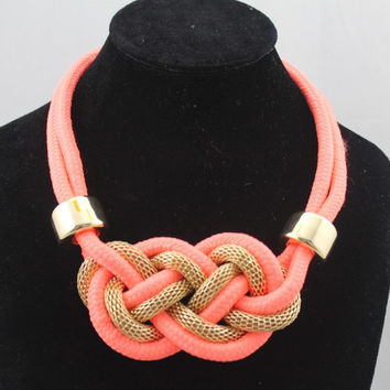 tie the knot necklace, coral orange Statement Necklace,nautical knotted jewelry, knot cord Necklace, knot rope Necklace, neon necklace