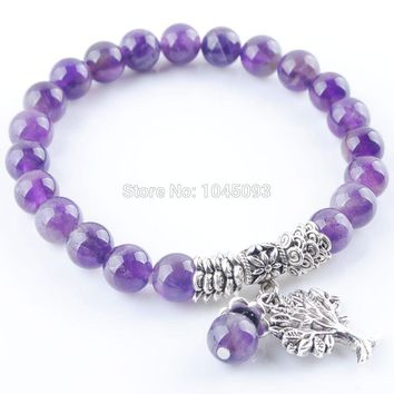 YOWOST Natural Amethysts Gem Stone Bracelet Mala Beads Tree Of Life Charms Meditation Ethnic Jewelry QK3213