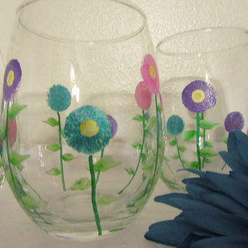 Hand Painted Clear Glass Floral Drinking Glasses - Pink, Aqua, and Purple Flowers - SET OF FOUR