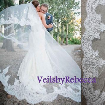 2 tiers chapel lace veil with blusher, cathedral lace veil, lace blusher veil,drop lace veil,lace wedding veil, drop lace bridal veil V607