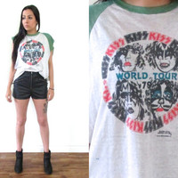 Vintage 1979 KISS World Tour Concert Destroyed Muscle T Shirt Tank // 70s Band Tee // Hipster Hippie Biker Boho Gypsy // XS Small Medium
