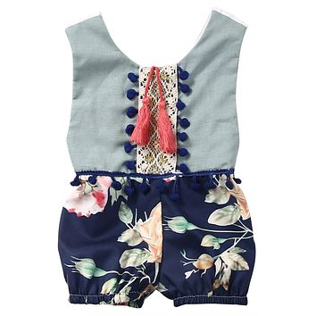 0-4Y Toddler Kids Girls Clothes Sleeveless Floral Romper Baby Girl Rompers Playsuit One Pieces Outfit Kids Tracksuit