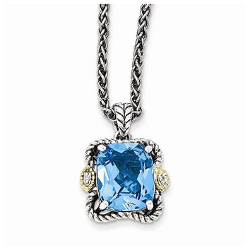 Sterling Silver w/14k Gold Antiqued Blue Topaz and Diamond Necklace