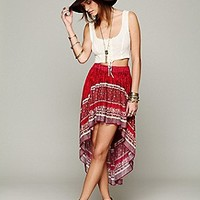 Border Print High Low Slip