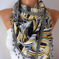 Women Scarf - Shawl  Cowl with Lace - Multicolor - Gray - fatwoman