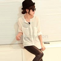 New Women Fashion Simple Basic Sheer Chiffon Blouse T-Shirt With Pocket S M L XL