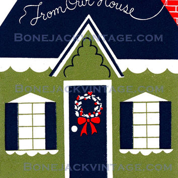 From Our Home Vintage Christmas Card Digital Printable Image