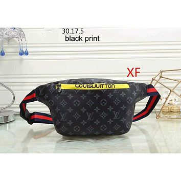 LV Louis Vuitton 2018 new women's tide brand fashion wild leisure shoulder bag purse F-LLBPFSH Black Print