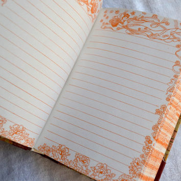 Vintage Journal Diary - Lined Decorated Paper - Leather and Fabric Cover - Unused