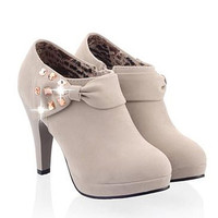 Gray High Heel Ankle Boots With Bow and Rhinestones Design