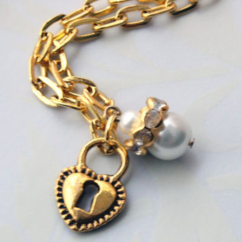 Heart Lock and White Pearl Charm Anklet