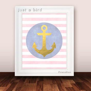 Anchor decor, nautical nursery print, baby girl nursery decor, girls room art, nautical decor for girls, gold nursery art -INSTANT DOWNLOAD