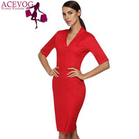 ACEVOG Ladies Career Dress Fashion knee length Midi Sleeve Slim Bodycon Bandage pencil Office Dress Women Solid Casual Business