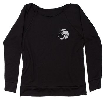 Embroidered Yin Yang Cats Patch (Pocket Print) Slouchy Off Shoulder Oversized Sweatshirt