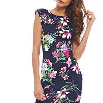 Navy Floral Capped Sleeve Scoop Back Mini Dress