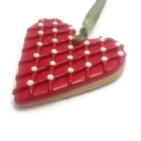 Heart Ornament, Faux Cookie Ornament, Polymer Clay Decor, Valentine's Day Gift Idea, Christmas Ornament
