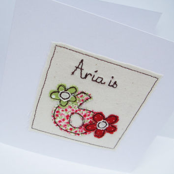 Personlised Age Birthday Card  for a child -  Embroidered