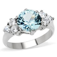 Nordic Ice Princess - FINAL SALE Sparkling Beauty Stainless Steel Ring with Aquamarine Cubic Zirconia Center Stone
