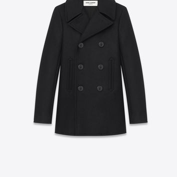 SAINT LAURENT DOUBLE BREASTED CABAN JACKET IN BLACK VIRGIN WOOL | YSL.COM