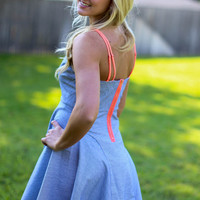 Beach Days Dress - Navy with Coral