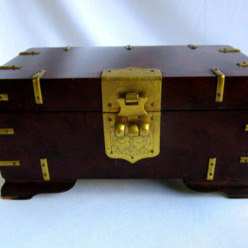 Small Wood Jewelry Trinket Box Mens Lock Stash Box Asian