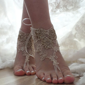 FREE SHIP Champagne, french lace sandals, wedding anklet, Beach wedding barefoot sandals, Floral sandals.