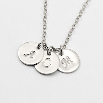Initial Necklace, Sterling Silver Disc Necklace, Personalized Necklace, Sisters, Monogram Necklace, Best Friend Jewelry, Silver Small Disc
