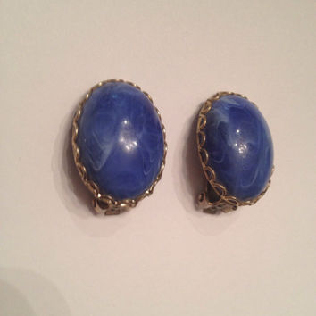 Vintage Blue Marble Resin  Cabochon Gold Earrings Costume Jewelry