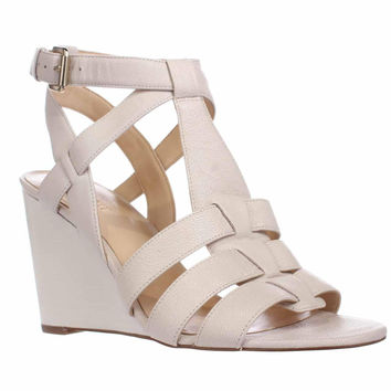 Nine West Farfalla Strapped Wedge Sandals, Off White, 9.5 US