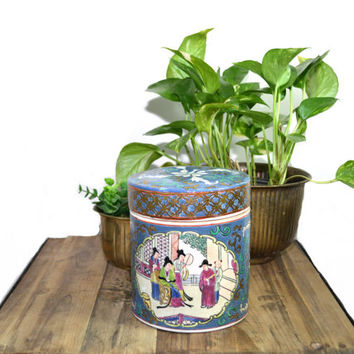 Vintage Ginger Jar Asian Ginger Jar Chinoiserie Decor Chinese Asian Decor Blue and White Ginger Jar