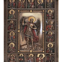 St. Michael wall plaque from the Veronese Collection. Lightly hand-painted cold cast bronze, 9x12inches.