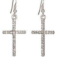 rhinestone embellished cross earrings