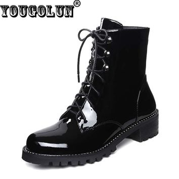YOUGOLUN Women Ankle Boots 2017 Winter Genuine Patent Leather Crystal Black Lace up  Shoes Mid Square Heel 4cm Heels #Y-242