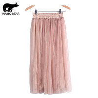 2016 Skirt Ladies Elegant Casual High Waist Pleated Skirt Long Tulle Skirts Straight Skirts Solid Mesh Skater Skirt WAIBO BEAR
