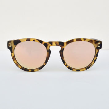Tortoise Frame Orange Mirror Lens Sunglasses