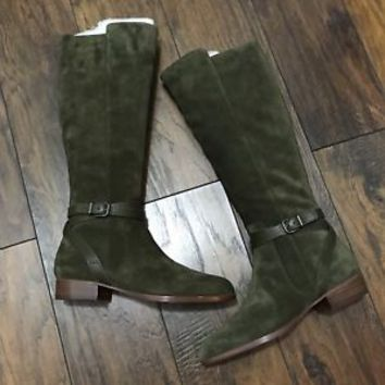 Brand New VIA SPIGA Prish Green Suede Leather Knee High Boots Women US 9M EUR 39