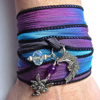 Hand Dyed Silk Wrap Bracelet with Genuine Amethyst, Fairy and Crescent Moon charms,  also can be worn as a necklace