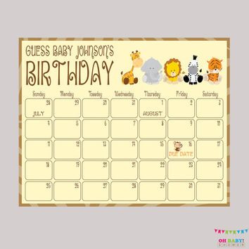 Safari Baby Shower Birthday Predictions - Printable Baby Shower Due Date Calendar & Birthday Guess - Safari Baby Shower Activity - BS0001-N