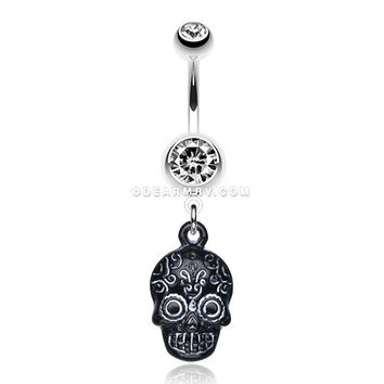 Vibrant Mayan Tribal Skull Belly Ring (Clear/White)