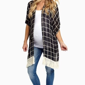 Black-Printed-Fringe-Trim-Knit-Maternity-Cardigan